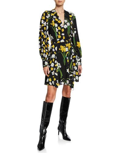 Floral-Print Neck-Tie Blouson Sleeve Shift Dress
