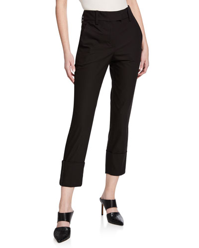 Mid-Rise Cotton Skinny Leg Monili-Cuff Pants