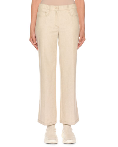 Mid-Rise Cropped Wool Denim Trousers
