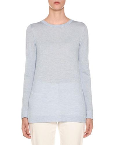 Crewneck Long-Sleeve Cashmere-Silk Sweater