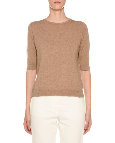 Cashmere 1/2-Sleeve Geometric-Slit Sweater