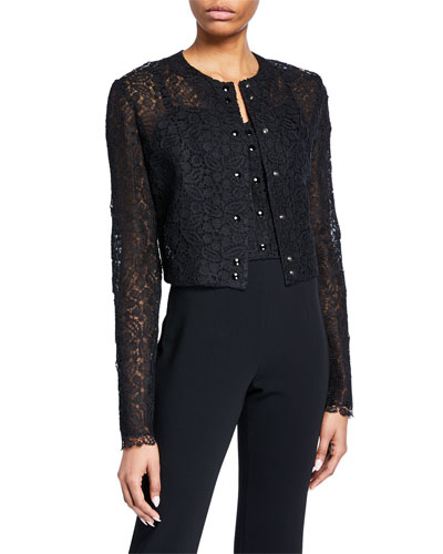 Lace Snap-Front Shrug Cardigan