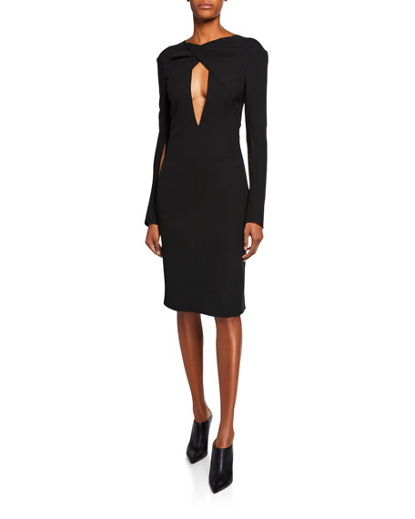 Long-Sleeve Plunging Keyhole Cocktail Dress