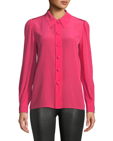 Puff-Shoulder Button-Front Silk Blouse