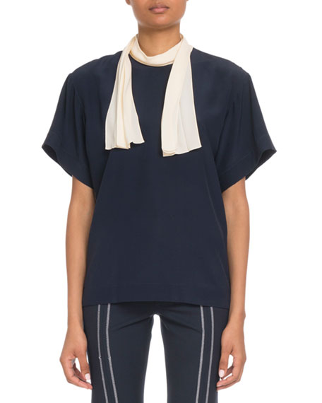 Image 1 of 1: Short-Sleeve Contrast Scarf-Tie Blouse