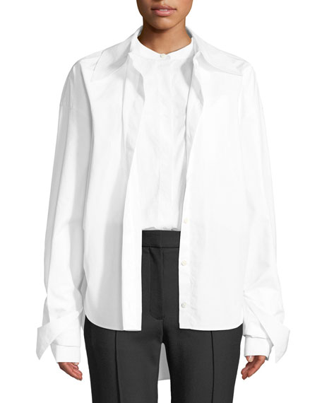 Rokh POPLIN BUTTON-FRONT DOUBLE SHIRT