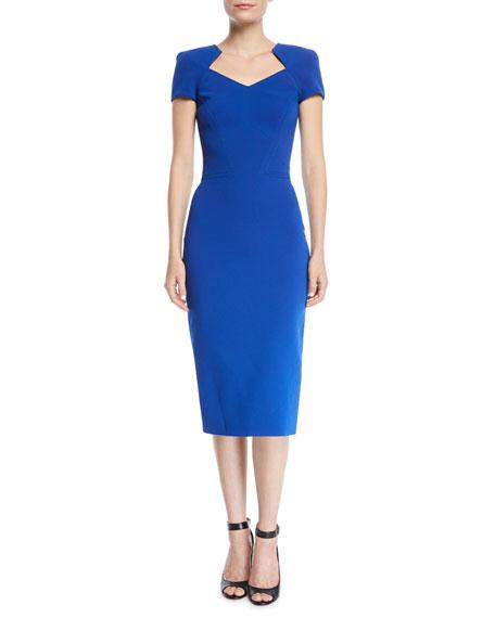 V-Neck Short-Sleeve Bonded Crepe Body-Con Midi Day Dress