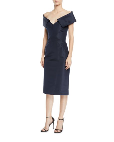 1/2-Sleeve Off-The-Should Faille Cocktail Dress