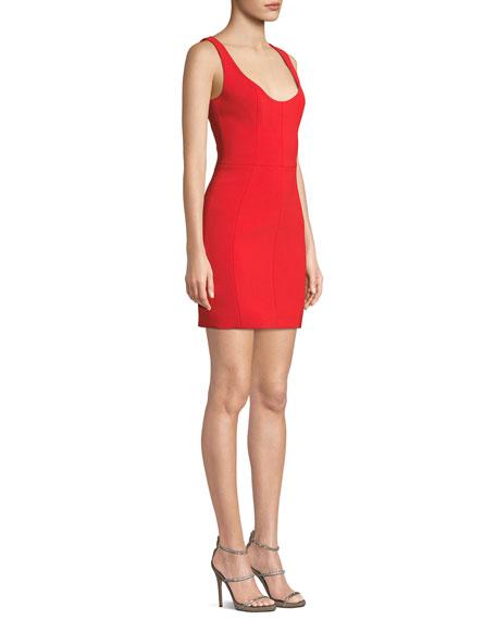 Scoop-Neck Pique Body-Con Dress