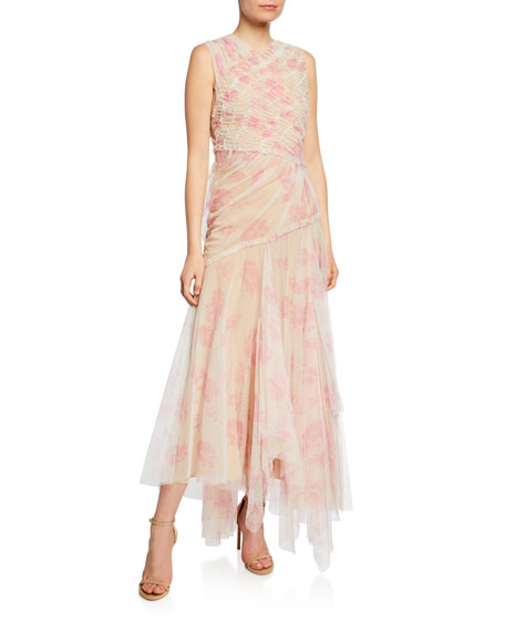 Floral-Print Gathered Tulle Dress