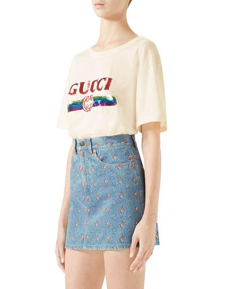 Embroidered High-Waist Denim Mini Skirt