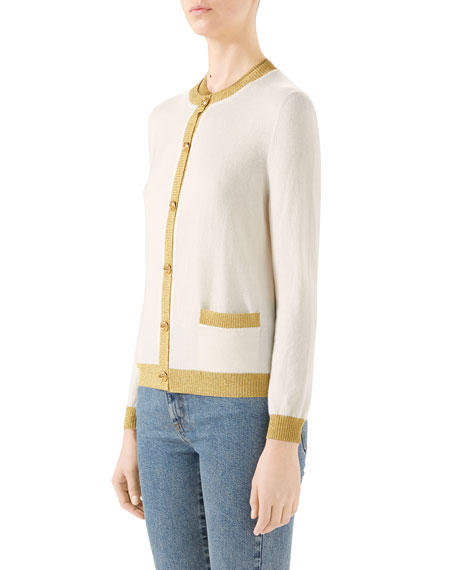 Cashmere-Silk Button-Front Cardigan