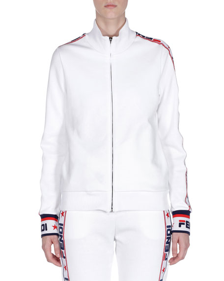 Image 1 of 1: Fendi Mania Zip-Front Track Jacket