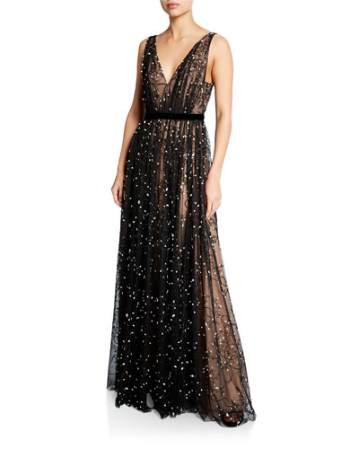 198e9cbf373 Sleeveless Embroidered Lace V-Neck Gown Quick Look. J. Mendel