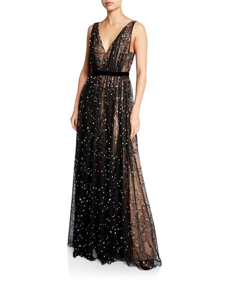 Sleeveless Embroidered Lace V-Neck Gown
