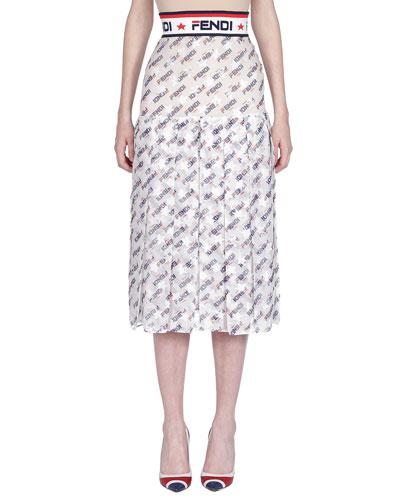 Fendi Mania Pleated Midi Skirt