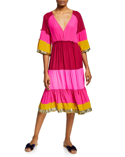 Fiona Colorblocked Shimmer-Trim Dress