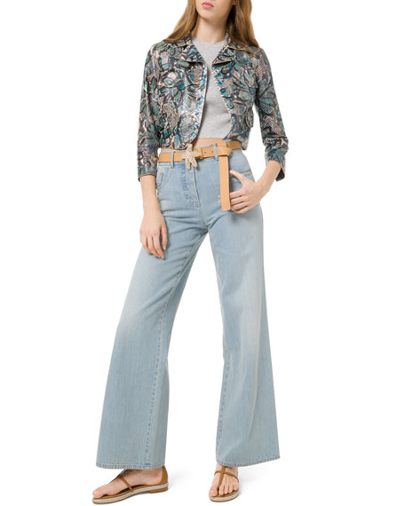 Michael Kors Collection Mid-Rise Wide-Leg Jeans