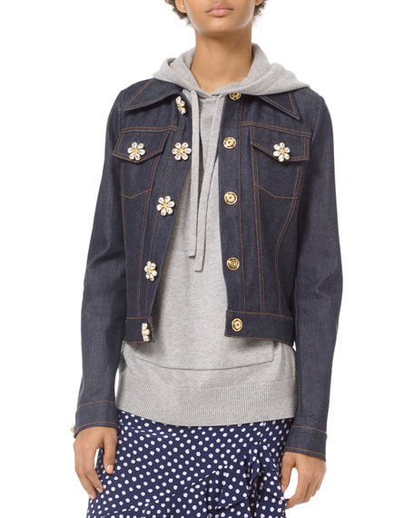 Michael Kors Collection Floral Gem-Button Denim Jacket