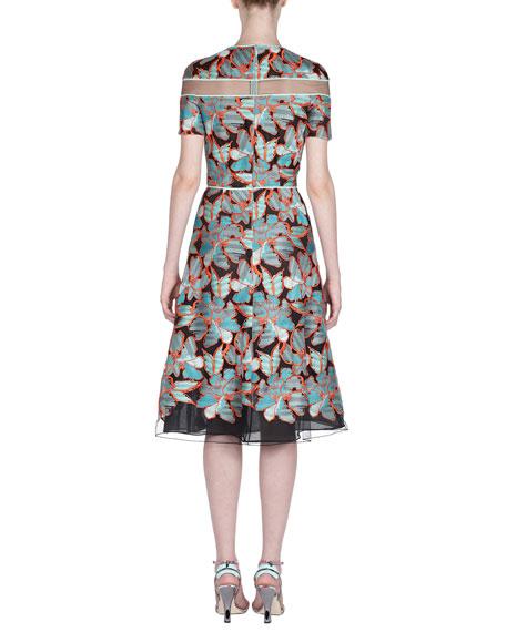 Short-Sleeve Floral Devore Illusion Dress