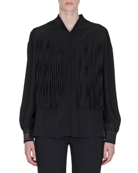 Fringe-Trim Button-Front Silk Blouse