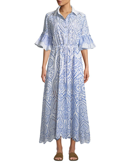 Image 1 of 1: Valerie Cotton Lace Shirtdress