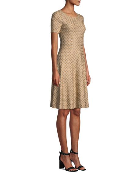Short-Sleeve Metallic Jacquard Dress