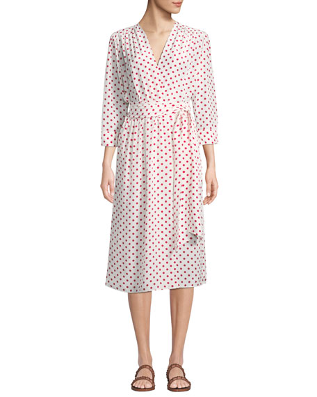 Image 1 of 1: Bianca Polka-Dot Silk Wrapped Midi Dress