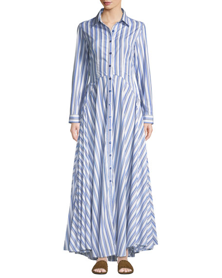 Image 1 of 1: Juliette Striped-Cotton Maxi Shirtdress