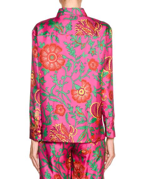 New Boy Floral-Silk Button-Front Shirt