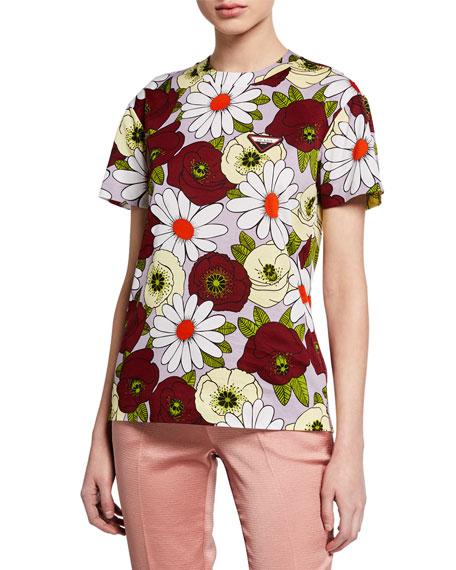 Prada Floral Print Short-Sleeve T-Shirt