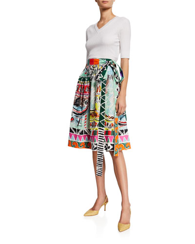 Venice Printed Cotton Midi Skirt