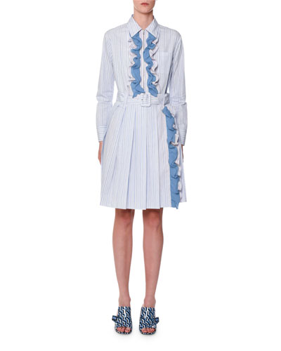 Baiadera Striped Zip-Front Shirtdress with Contrast Chiffon Ruffle