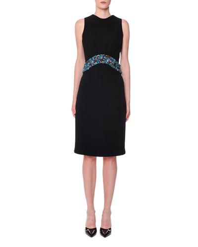Sleeveless Open-Back Jewel Waist Dress