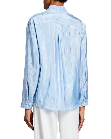 Logo-Striped Silk Button-Down Blouse