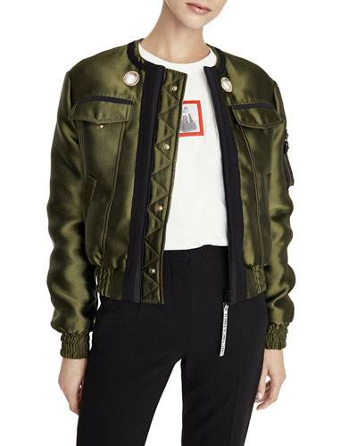 Reversible Lip-Print Bomber Jacket
