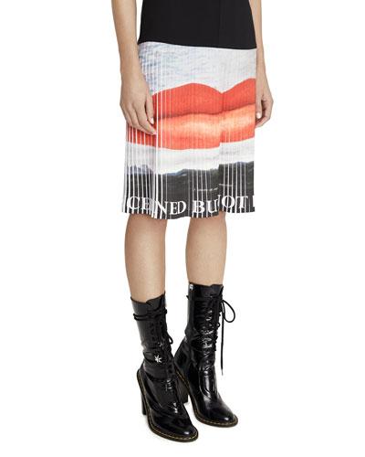 Pleated Crepe Lip-Print Dress