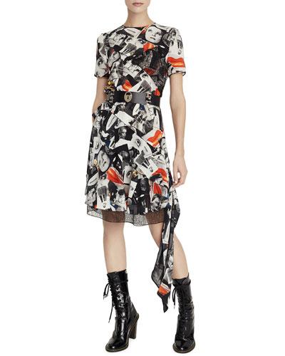 Short-Sleeve Multi-Face Print Dress