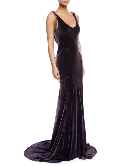 Image 1 of 1: Kaiya Velvet Open-Back Evening Gown