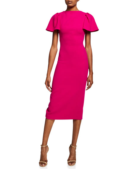 Brandon Maxwell Dresses RUFFLE-SLEEVE WOOL MIDI COCKTAIL DRESS