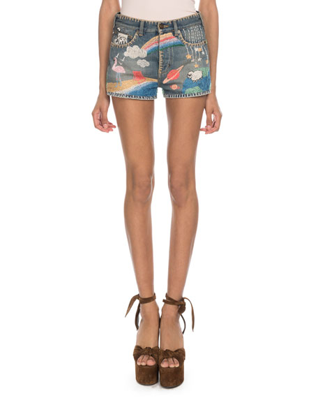 1741f2c84ae Saint Laurent Multi-Embroidered Denim Shorts