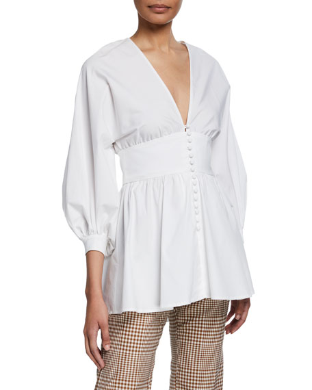 Full-Sleeve V-Neck Button-Front Top