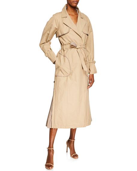 Lela Rose Gingham-Trim Belted Trench Coat
