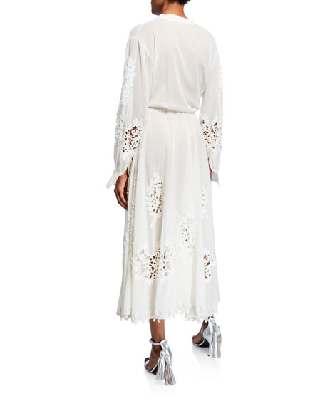 Embroidered Tie-Waist Midi Dress