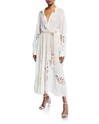 Embroidered Tie-Waist Midi Dress