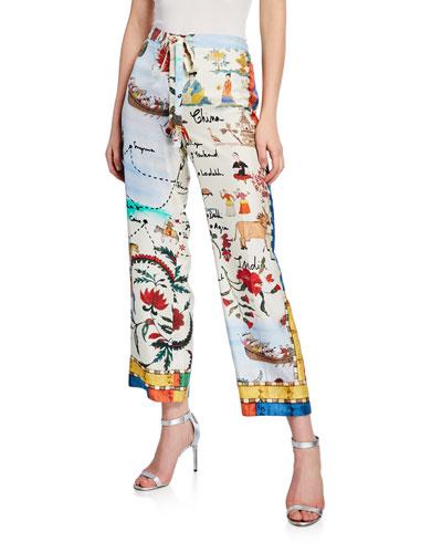 Patterned Silk Pajama Pants