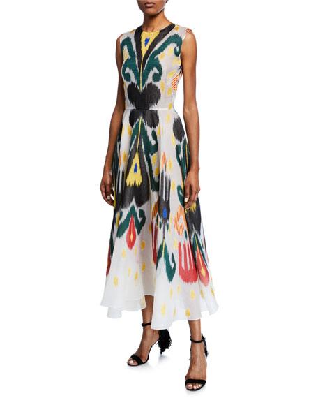 Ikat Patterned Sleeveless Midi Dress