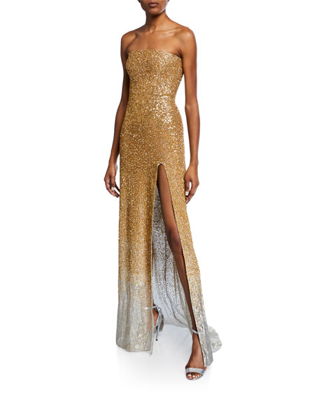 Strapless Ombre Sequined Gown