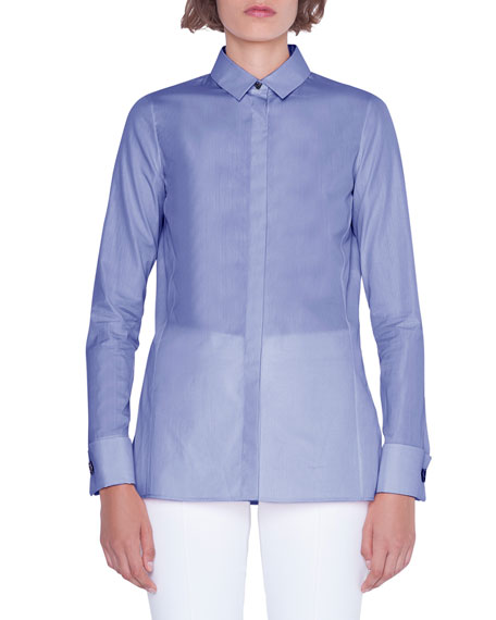 Image 1 of 1: Cotton Button-Front Poplin Blouse