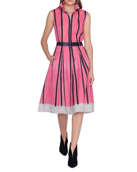 Akris Sleeveless Linia-Print Cotton A-Line Dress